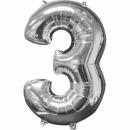 Balon Folie Cifra 3 Argintiu - 26''/66cm, Anagram 31957