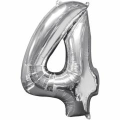 Balon Folie Cifra 4 Argintiu - 26''/66cm, Anagram 31958
