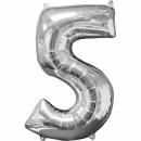 Balon Folie Cifra 5 Argintiu - 26''/66cm, Anagram 31959