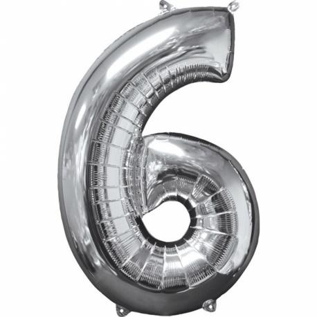 Balon Folie Cifra 6 Argintiu - 26''/66cm, Anagram 31960