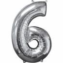 """Balon Folie Cifra 6 Argintiu - 26""""/66cm, Anagram 31960"""