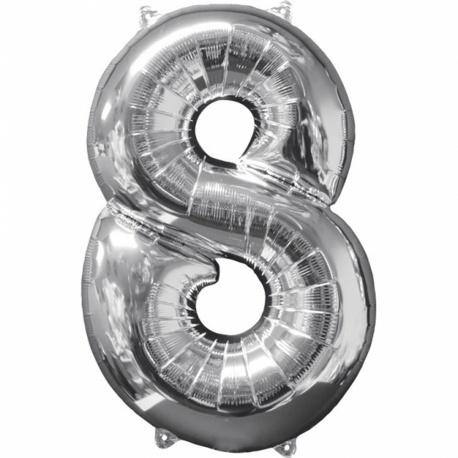 Balon Folie Cifra 8 Argintiu - 26''/66cm, Anagram 31962