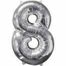"""Balon Folie Cifra 8 Argintiu - 26""""/66 cm, Anagram 31962"""
