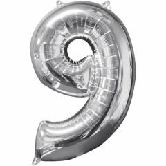 """Balon Folie Cifra 9 Argintiu - 26""""/66cm, Anagram 31963"""