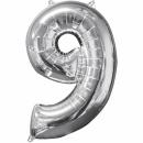 Balon Folie Cifra 9 Argintiu - 26''/66cm, Anagram 31963