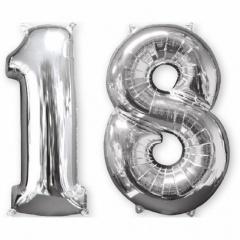 Pachet baloane folii  mari numarul 18  argintiu - 86cm, Amscan 33866