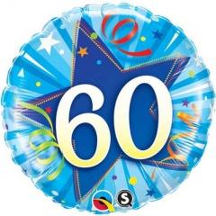 Balon Folie 45 cm Numarul 60 - Albastru, Qualatex 30276