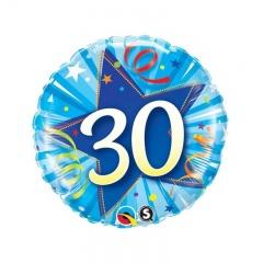 Balon Folie 45 cm Numarul 30 - Albastru, Qualatex 30239