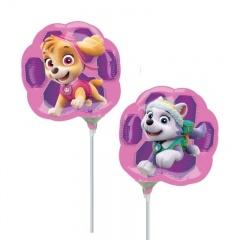 Balon Mini Folie Paw Patrol 23 cm - umflat + bat si rozeta, Amscan 34496
