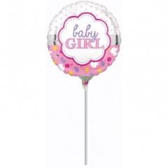 Balon mini folie baby girl - 23 cm, umflat + bat si rozeta, Amscan 33723