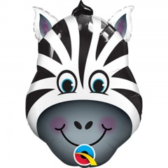 Balon Mini Figurina 36 cm Zebra, umflat + bat si rozeta, Qualatex 41805