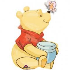 Balon folie mini figurina Winnie the Pooh - umflat + bat si rozeta, Amscan 26324