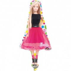 Balon Mini Figurina Barbie - umflat + bat si rozeta, Amscan 30656