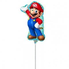 Balon Mini Figurina Super Mario 20 x 30 cm - umflat + bat si rozeta, Amscan 32027