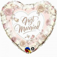 Balon Folie 45 cm Just Married Roses, Qualatex 31082
