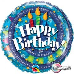 Balon Folie 45 cm Holografic Happy Birthday, Qualatex 35340
