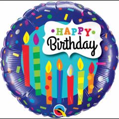 Balon Folie 45 cm Happy Birthday, Qualatex 49037