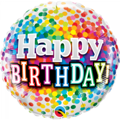 Balon Folie 45 cm Happy Birthday Multicolor, Qualatex 49496