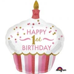Balon Folie Figurina Happy 1st Birthday - 73 x 91 cm, Amscan 34522