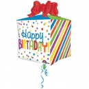 Balon folie cubez Happy Birthday - 38x40cm, Amscan 34565