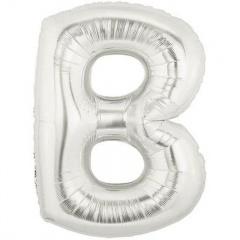 Balon folie mare litera B argintiu - 86 cm, Amscan 32948