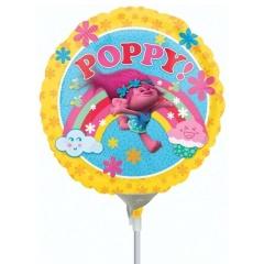 Balon Mini Folie Trolls 23 cm + bat si rozeta, Amscan 34268
