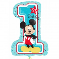 Balon Folie Mickey Mouse 1st Birthday, 71 x 48 cm, Amscan 34343, 1 buc