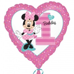 Balon Folie 45 cm Minnie 1st Birthday, Amscan 34350