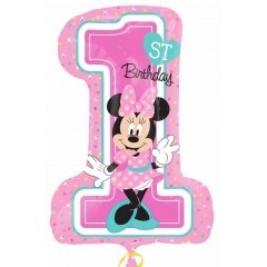 Balon Folie Minnie Mouse 1st Birthday, 71 x 48 cm, Amscan 34352, 1 buc