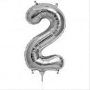 Balon folie cifra 2 argintiu - 41cm, Amscan 33078