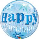 "Balon Bubble 22""/56cm, Birthday Blue Starbust Sparkle, Qualatex 48433"