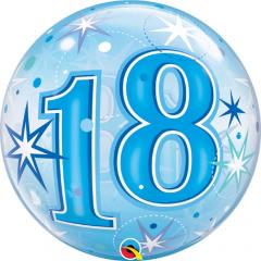 """Balon Bubble 22""""/56cm, Blue Starbust Sparkle pentru aniversare 18 ani, Qualatex 48439"""