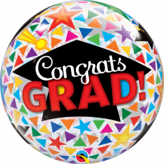 "Balon Bubble 22""/56cm, Congrats Grand Cap & Triangles, Qualatex 47366"