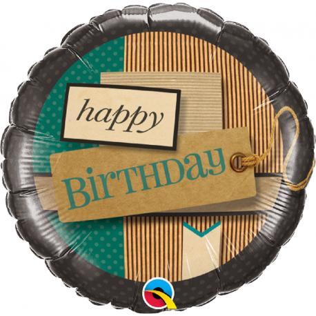 Balon Folie 45 cm Happy Birthday Paper Patterns, Qualatex 25620