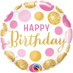 Balon Folie 45 cm Happy Birthday Pink & Gold Dots, Qualatex 49164