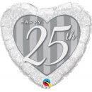 Balon Folie 45 cm Happy 25th Anniversary, Qualatex 91937