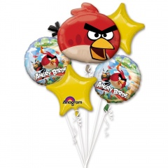 Buchet baloane Angry Birds, Amscan 24887, Set 5 buc