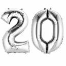 Pachet baloane folii mari numarul 20 argintiu - 86cm, Amscan 33868