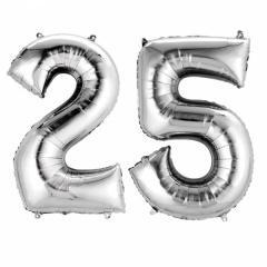 Pachet baloane folii mari numarul 25 argintiu - 86cm, Amscan 33957