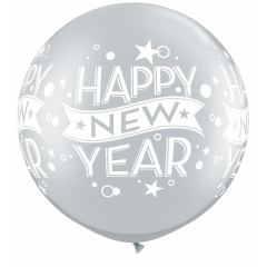 "Balon latex Jumbo 30"" inscriptionat Happy New Year, Qualatex 19173, 1 buc"