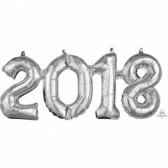 Pachet baloane folii 2018 argintiu - 50 x 22 cm, Amscan 36519