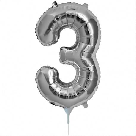 Balon folie cifra 3 argintiu - 41cm, Amscan 33080