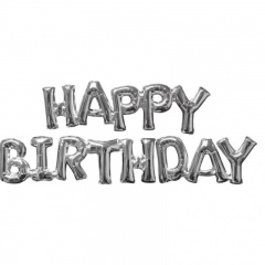Pachet baloane medii folie Happy Birthday argintiu, Amscan 36097