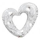Folie fig inima sparta argintie 107 cm, Qualatex 16304