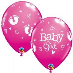 Baloane latex 11''/28 cm roz Baby Girl, Qualatex 54165