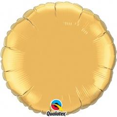 Balon folie auriu metalizat rotund - 45 cm, Qualatex 35431, 1 buc