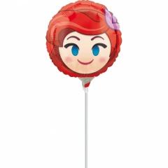 Balon Mini Folie Emoji Ariel + bat si rozeta, Amscan, 23 cm, 36372