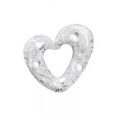 Balon folie minifigurina inima sparta alba, umflat + bat si rozeta, Qualatex 40352