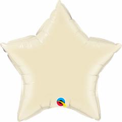 Balon folie metalizat stea pearl ivory - 50 cm, Qualatex 54806