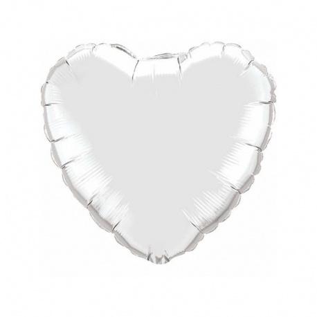 Balon Folie 45 cm Inima Argintiu, Qualatex 23138, 1 buc